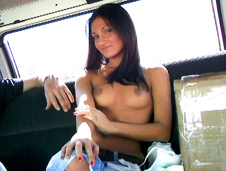 Picked up a college girl, then gets banged out on BangBus